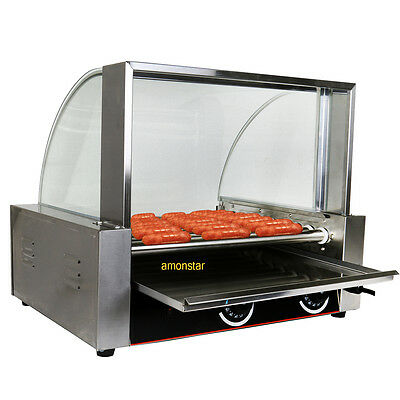 Commercial 24 Hot Dog Hotdog 9 Roller Grill Cooker Machine W/cover Stainless