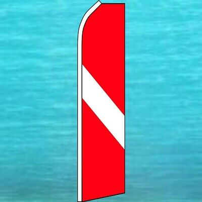 DIVER DOWN Diving Swooper Banner Feather Flutter Bow Tall Curved Top Flag
