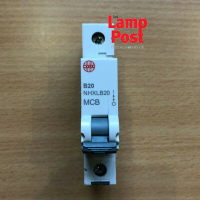 Wylex MCB - NHXB20 20 Amp SP MCB Miniature Circuit Breaker - Replaces NSB20 Type