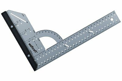 "Wolfcraft 300mm (12"") Flat Steel Angle Square Protractor Measure Rule, 5205"