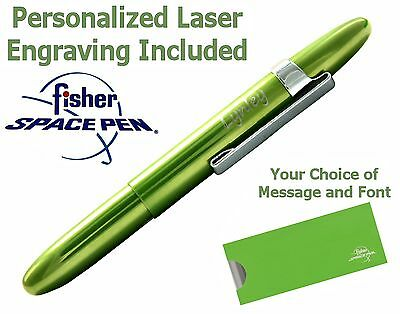 Fisher Personalized Space Pen #400LGCL-P / Lime Green Bullet with Chrome Clip
