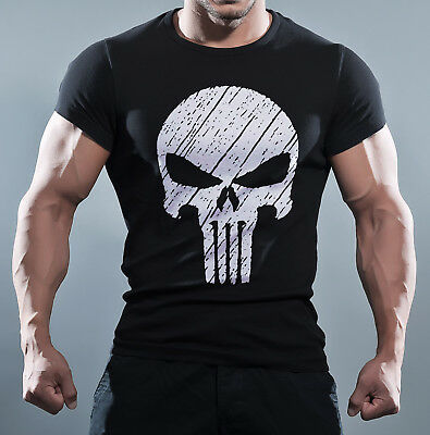 Punisher The Skull Screen Printed Body Fit T-Shirt TShirt Gym MMA Bodybuilding