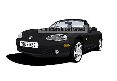 Mazda Mx5 Mk2 Graphic Car Art Print. Personalise It!