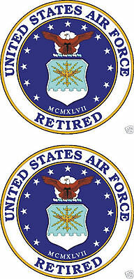 2 United States Air Force Retired Decal Sticker USAF