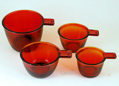 Red Glass Stacking Nesting Measuring Cups Set Of 4