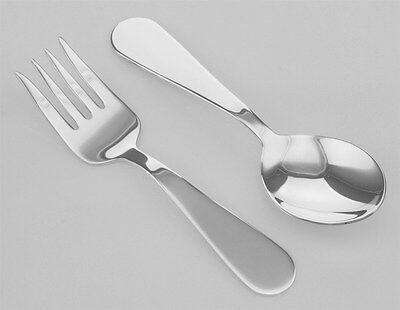 Baby Fork & Spoon Set Sterling Silver Made in USA - Free Shipping