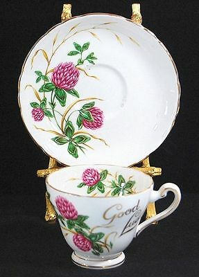 TUSCAN GOOD LUCK CLOVER BONE CHINA CUP/SAUCER SET MINT