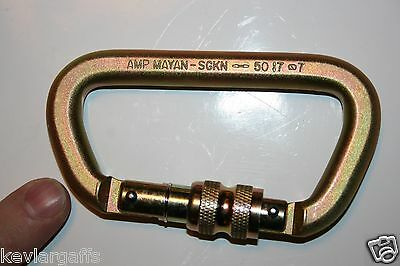 CARABINER STEEL Screw Lock 50KN or 11,200Lb rated Gold