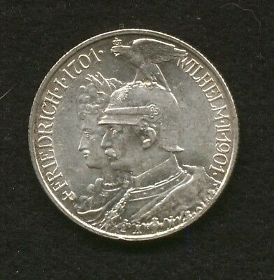 1901 German States Prussia 2 Marks Silver Commemorative