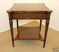 Walnut Burr End / Side Table Kingwood Banding + Drawer