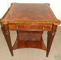 Mahogany End Side Table with Satinwood Banding & Drawer