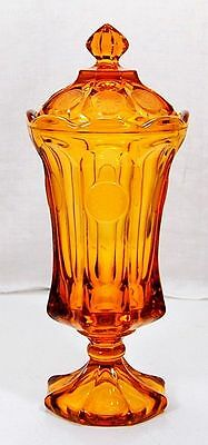 Vintage Covered Fostoria Coin Glass Apothecary Urn w/ Lid Footed Amber 13″ Tall