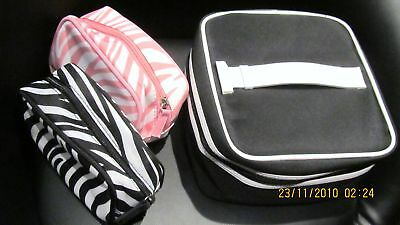 Lancome Large Vanity Bag + 2 Small Matching Pouch Set