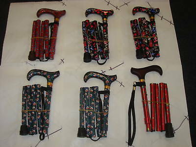 Ladies Folding Walking Stick Patterned Handbag Size New