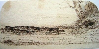 English Hunting Family Fox Into Hide Ink  C1840
