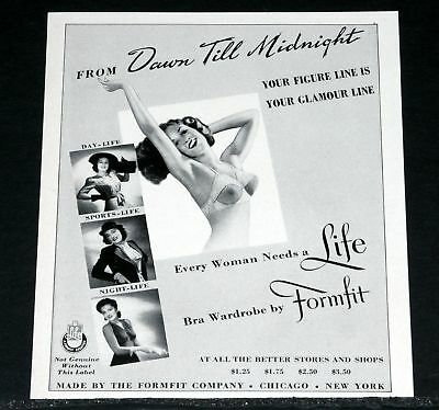 1941 Old Magazine Print Ad, Formfit Bras, Your Glamour Line, Dawn To Midnight!