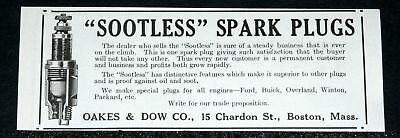 1916 Old Magazine Print Ad, Sootless Spark Plugs, Always Buyer Satisfaction!
