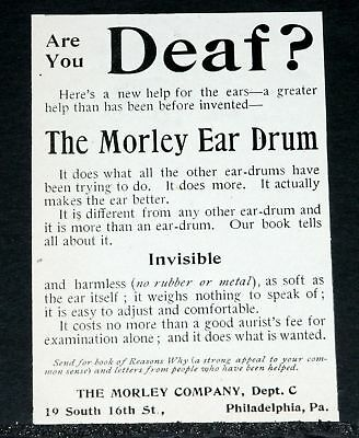 1902 Old Magazine Print Ad, Morley Ear Drum, New Help For The Ear, Are You Deaf!