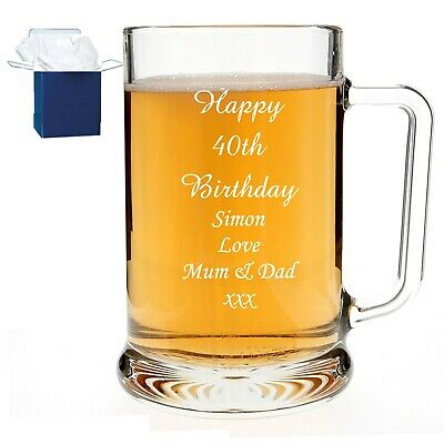 Personalised Engraved Pint Beer Glass Tankard 30th,40th,60th Birthday Dad Gift