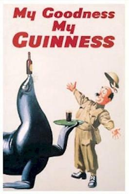 GUINNESS BEER ~ SEAL WAITER ~ 24x36 POSTER My Goodness NEW/ROLLED!