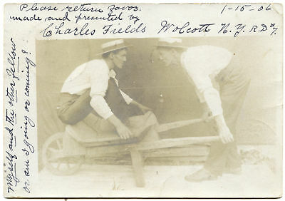 RPPC NY Wolcott Twins or Trick Photo Coming or Going Wayne County