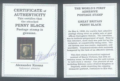 WORLD'S FIRST STAMP PENNY BLACK ENCASE with CERT of AUTHENTICITY - YOUR CHOICE
