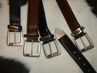 "LEATHER LINED JEANS BELT 40mm 1.5"" ALL SIZES BL/BR"