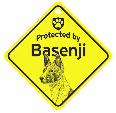 Protected by Basenji  Dog Car Window Sign
