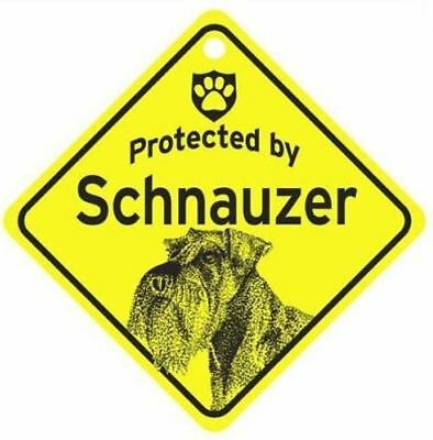 Protected by  Schnauzer  Dog Car Window Sign