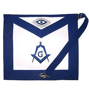 Master Mason embroidered apron with silver threading