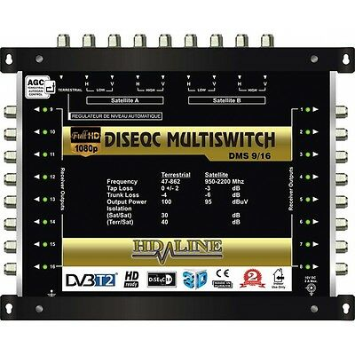 Multiswitch Centrale Diseqc 10/16 1 Terrestre 3 Satellites Sur 16 Demodulateurs