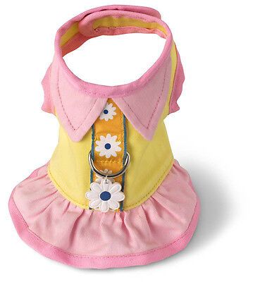 Adorable Flower Dress Dog Harness yellow/pink Doggles Pet
