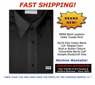 Mens BLACK Pleated Poly Cotton LAYDOWN Collar Formal Tuxedo Shirt New ALL SIZES