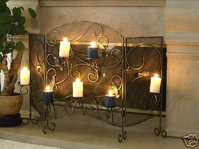 wrought iron fireplace screen with candle holder 99 00 picclick rh picclick com votive candle fireplace screen Tea Light Fireplace