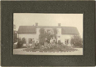People Posing In Front Of House Original Vintage Photo