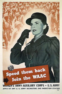 Join the WAAC Womens Army Auxiliary WWII 1943 Poster