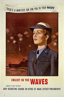 Navy enlist in the WAVES WWII Recruiting 1943 Poster