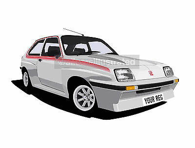Chevette Hsr Graphic Car Art Print (Size A3). Personalise It!