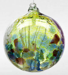 """Kitras Art Glass - BLUE FAIRY ORB - Witch Ball - Hand Blown Glass Ornament - 6"""""""