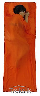 TREKSILK ORANGE 100% Pure Mulberry Silk Liner Sleeping Bag / Sack Travel Sheet