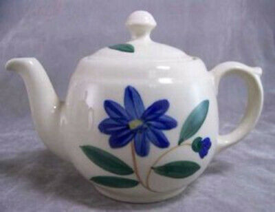 MidCentury Shawnee USA Blue Floral Conventional Teapot