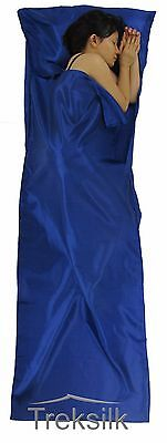 BLUE Silk Liner Sleeping Bag Hostel Travel Sheet Backpack Outback Trip Summer