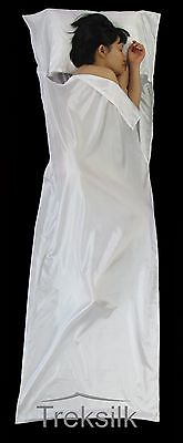 TREKSILK WHITE Silk Liner Sleeping Bag Inner Hostel Light Travel Sheet Clean Bed