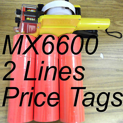 RED 42 Roll X 500 Tag label Refill for Motex MX-6600 Two Line Price Gun