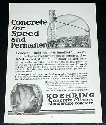 1919 Old Magazine Print Ad, Koehring Concrete Mixer, Permanence!