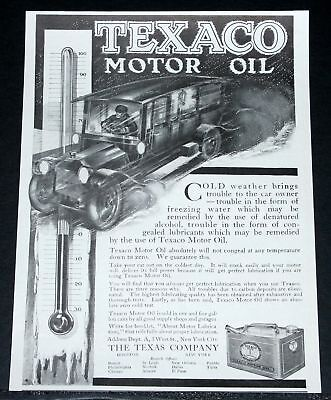 1912 Old Magazine Print Ad, Texaco Motor Oil, Will Not Congeal In Cold Weather!