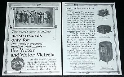 1912 Old Magazine Print Ad, Victor-Victrola, For The World's Greatest Artists!