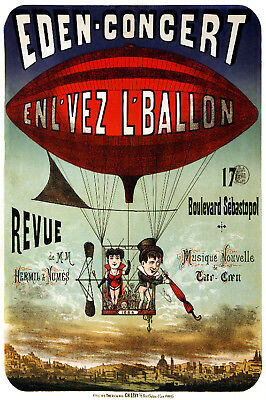 Vintage French POSTER.Hot Air Balloon.Room Decor.Interior design.749