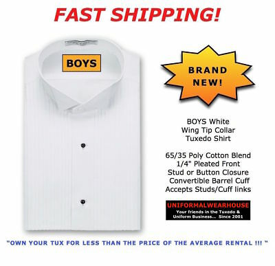 BOYS White Formal Tuxedo Shirt WING TIP COLLAR New ALL Kids SIZES