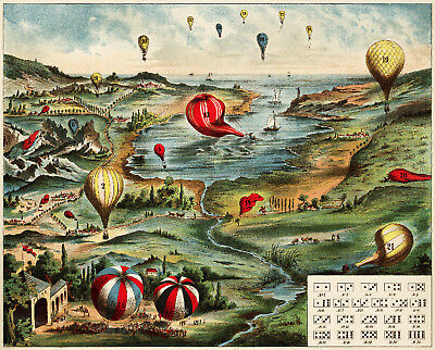 Vintage POSTER.Stylish Graphics.Hot Air balloon.Domino.House Bar Art Decor.763